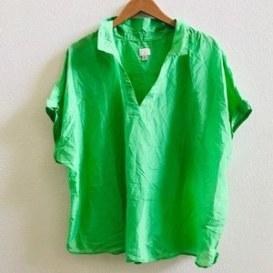 A NEW DAY green silk popover blouse top plus 4x
